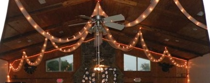 open bulb lights with white tulle are always draped from the ceiling
