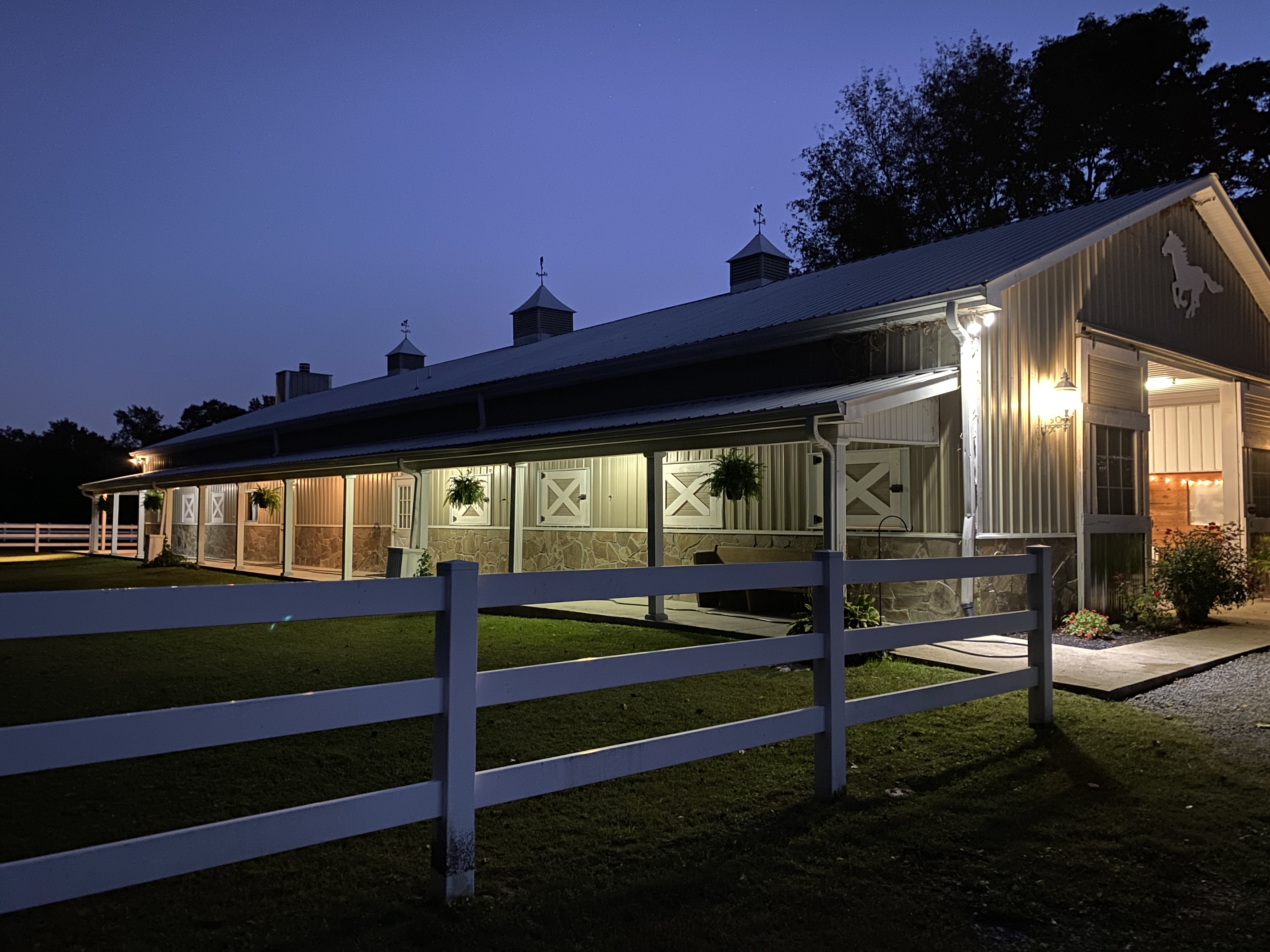 The Wild Turkey Ranch porch at night