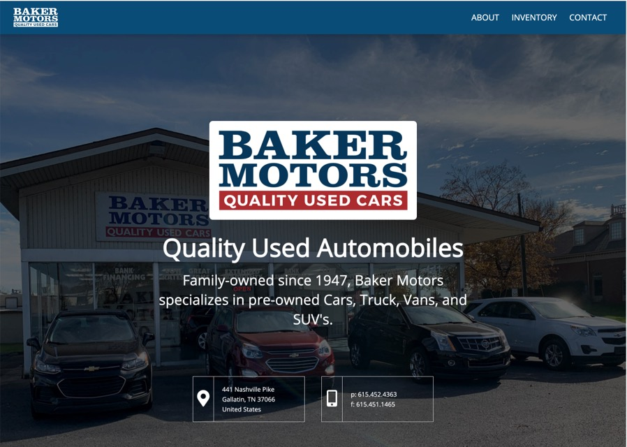 Baker Motors website
