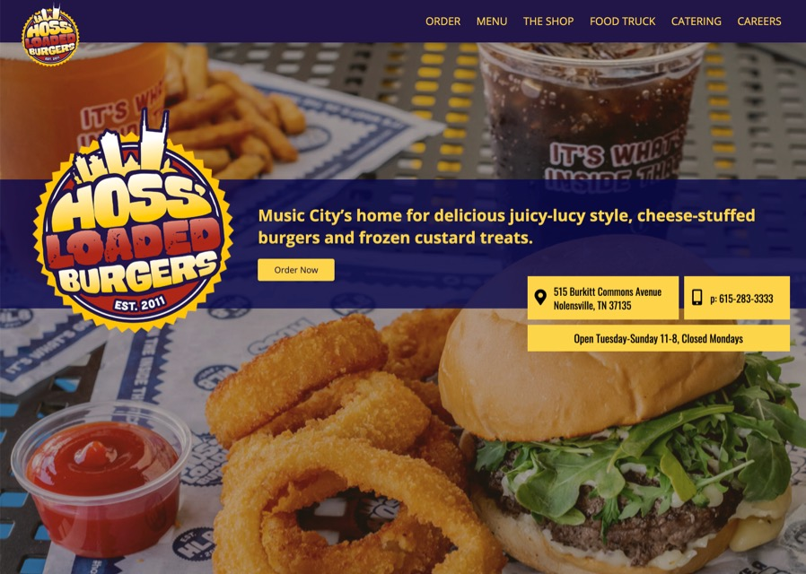 Hoss' Loaded Burgers website