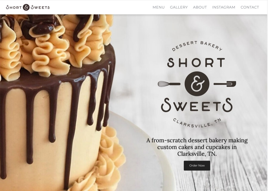 Short & Sweets Bakery website